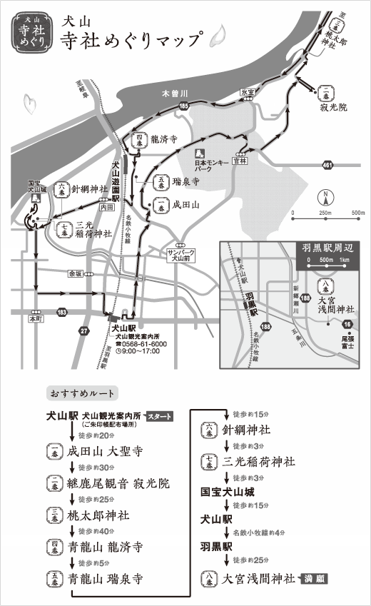Visiting Buddhist temple and Shinto shrines map (recommended route)