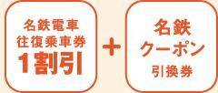 名鉄電車往復乗車券(1割引)+名鉄クーポン引換券